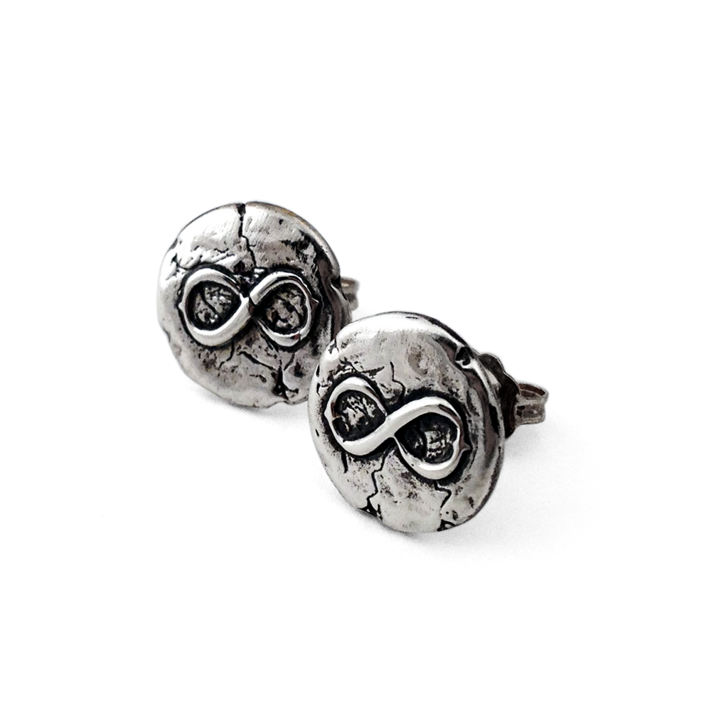 Infinity Stud Earrings- Sterling Silver- by Pennyroyal Jewelry
