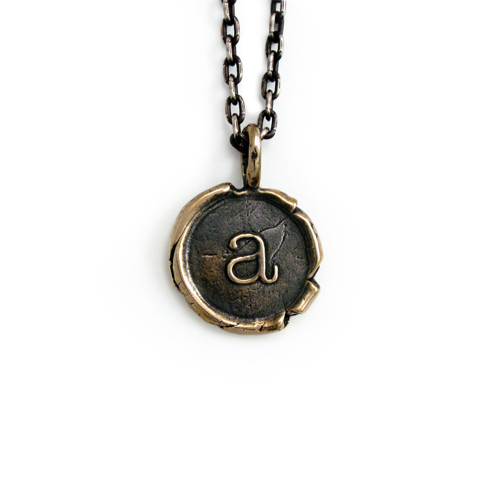 Alphabet Pendants- Bronze- by Pennyroyal Jewelry