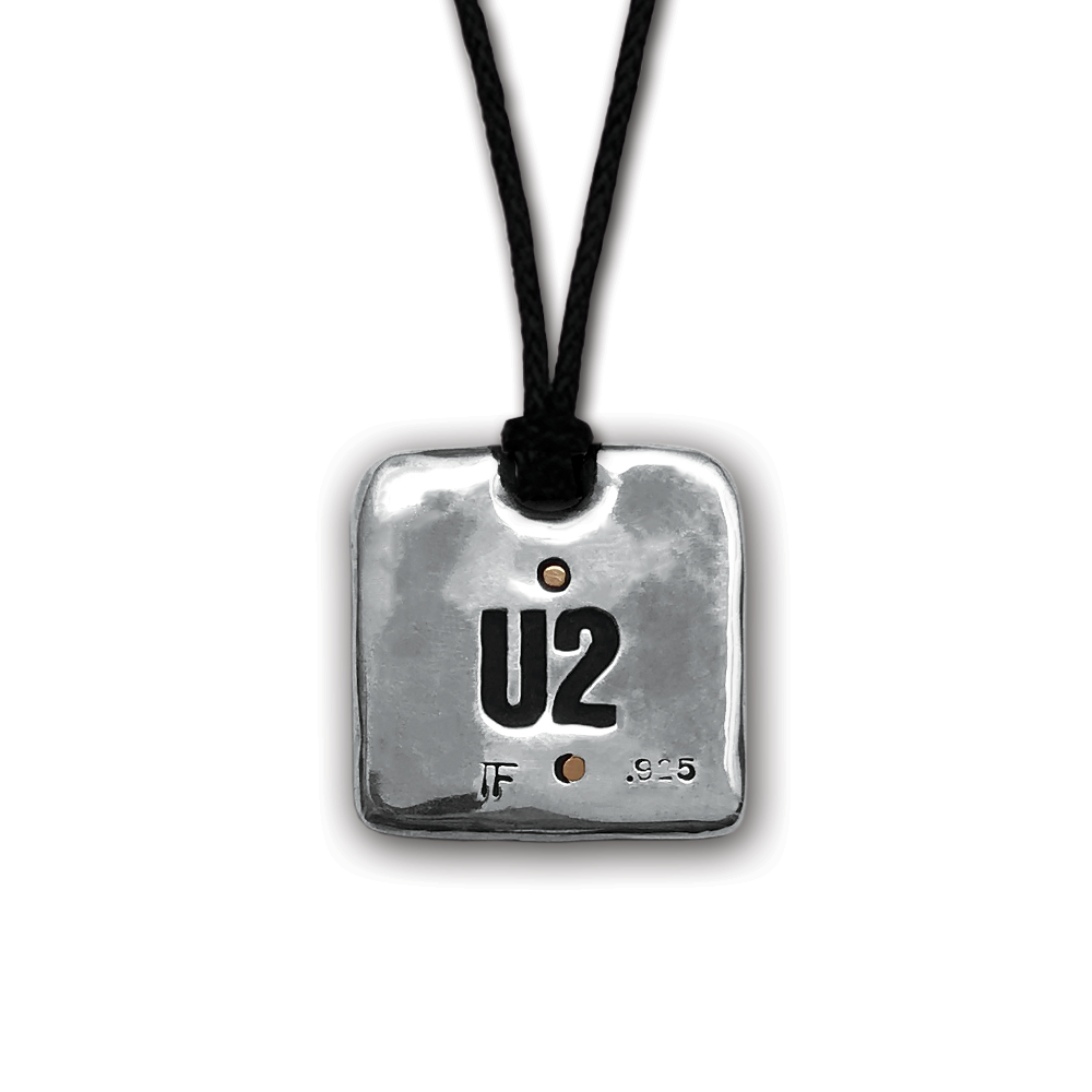 U2- The Joshua Tree- Square Silver/Bronze Pendant- by Pennyroyal Jewelry