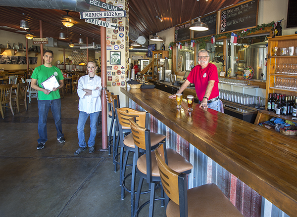 Pecan Street Brewing hosts a rotating tap of in-house brews.