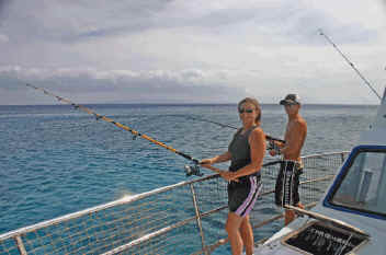 Bottom fishing off Lahaina, Maui