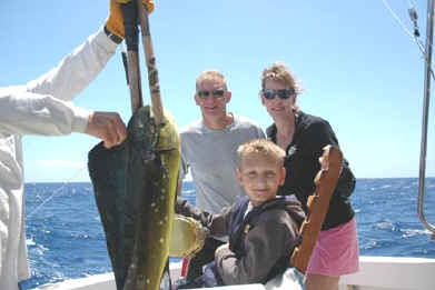 Mahimahi caught by kid