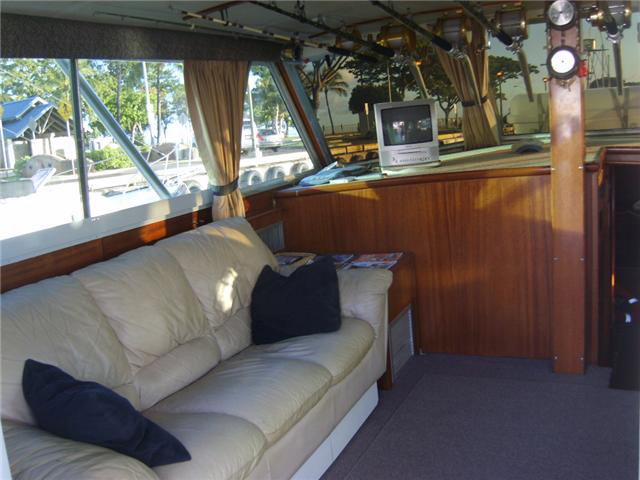 Oahu fishing charter boat interior