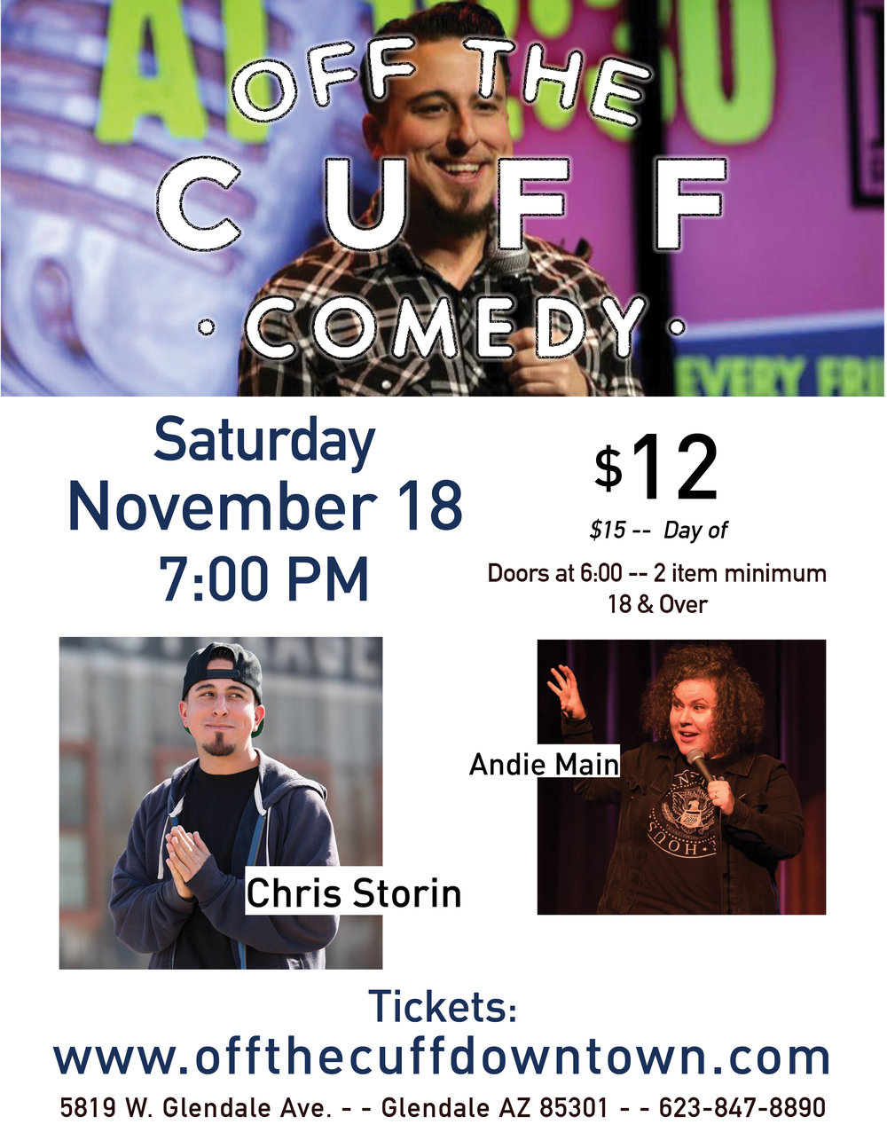 Stand- Up Comedy at Off the Cuff! Buy your tickets here
