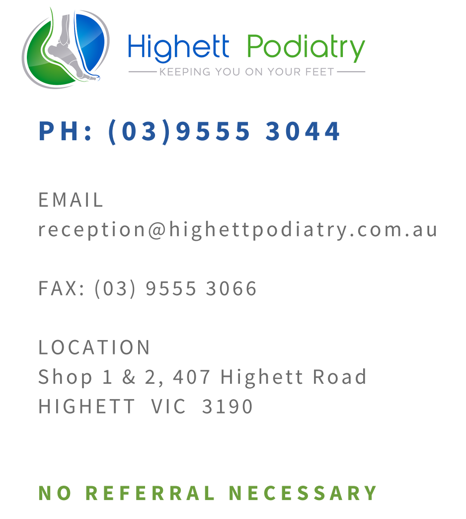Highett Podiatry phone number Podiatrist Melbourne, Bayside, Highett, Sandringham, Cheltenham, Moorabbin, Beaumaris, Hampton, Brighton, Black Rock, Mentone.  Podiatrist near me