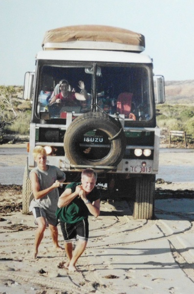 2001 Exchange student ROTARY trip, three weeks in the great West Oz outback in the trusty 4x4 Isuzu 24 seater, must make them earn their keep - clearly staged.