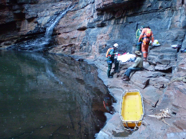 Assisting with the lengthy rescue of an international visitor in Karijini National Park; the unfortunate visitor made a speedy and complete recovery!