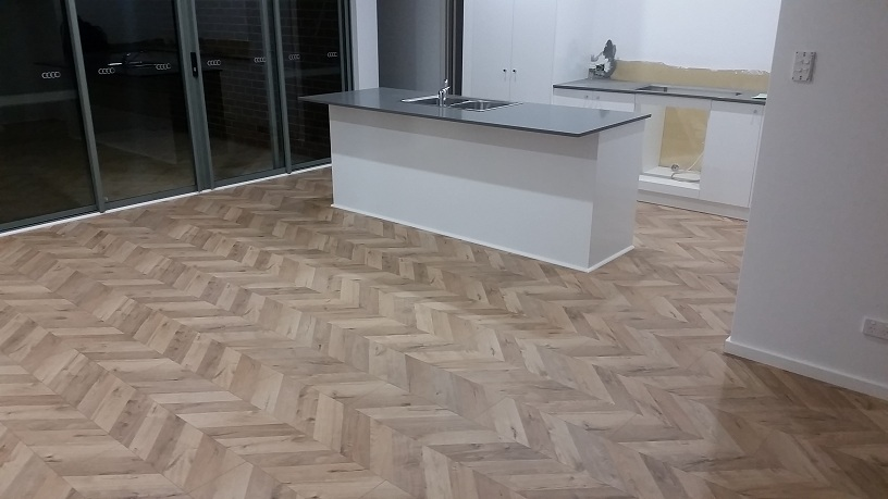 Floating timber floors, skirtings and finishing bead fitted.