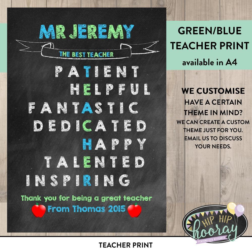 teacher print hip hip hooray personalised keepsakes