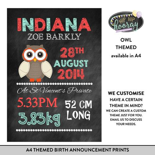 A4 Themed Birth Announcement Prints Hip Hip Hooray Personalised – Indiana Birth Announcements