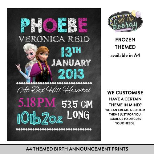 A4 Themed Birth Announcement Prints Hip Hip Hooray Personalised – Create a Birth Announcement