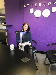 Claire ready to interview JP at Attercopia HQ