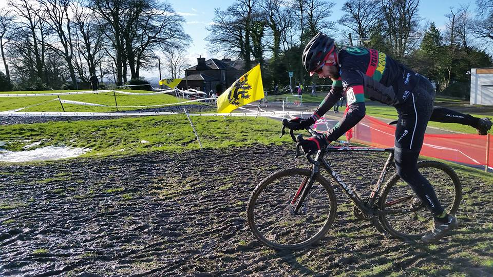 Mat Smith, flying to the podium at the St Valentines Day CX MassaCXre. Photo by Elisa Smith