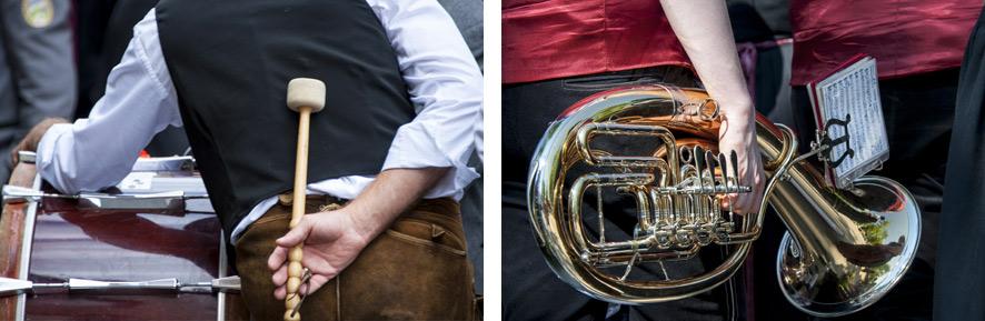 Bei beiden bildern braucht es nicht die gesamte musikkapelle, um das Thema zu vermitteln. die bilder wirken auch durch die details sehr gut. das gehirn denkt sich den rest einfach dazu - je nach phantasie auch die geräuschkulisse.