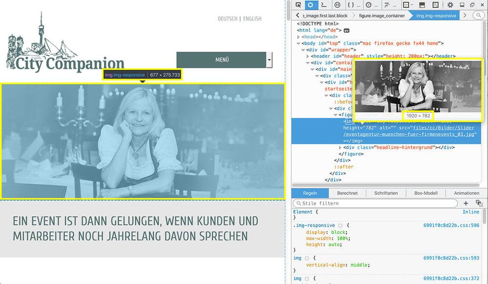 Bild auswählen und rechte Maustaste: In allen Browsern lässt sich die Grösse von Bildern auslesen. Links: Das Bild wird bei diesem Bildschirmausschnitt mit 677 x 275 pixel angezeigt. rechts sieht man, welche Abmessungen das Bild im Original hat. Es wurde mit 1.920 x 872 Pixel hochgeladen. Foto: Simone Naumann.