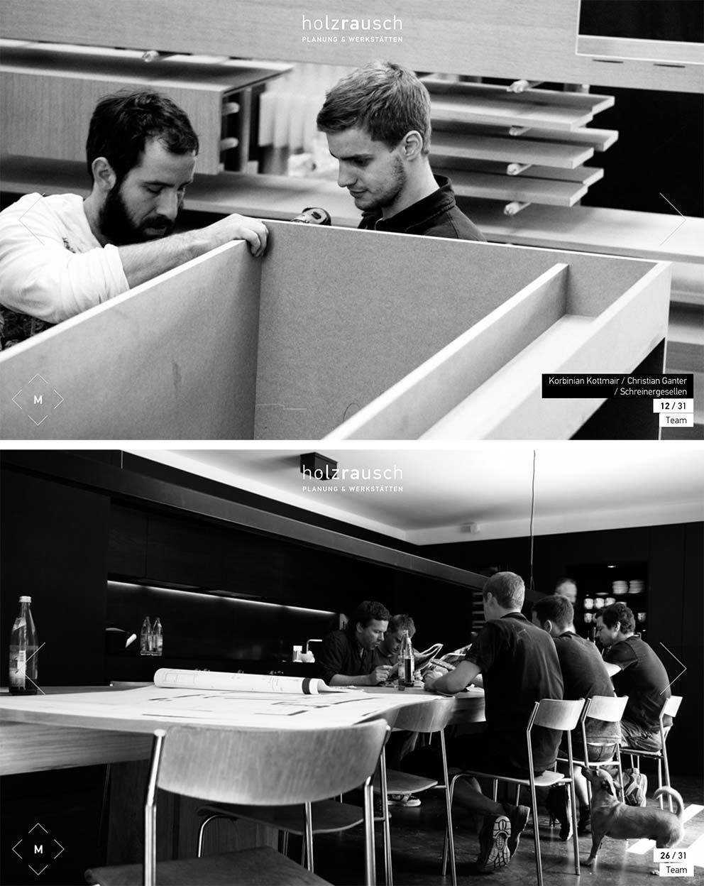Authentisch und mitten drin - die Fotos auf der Team-Seite der Münchner Schreinerwerkstatt Holzrausch. bildQuelle: holzrausch