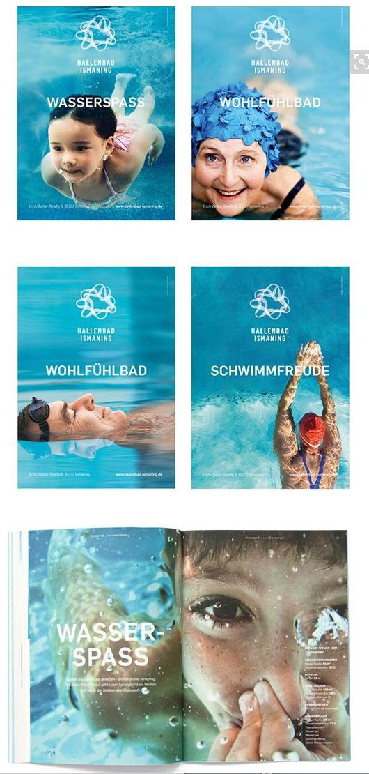 Cleane aber emotionale Bildsprache des Hallenbads Ismaning. Gefunden auf Pinterest. Quelle: Agentur Zeichen und Wunder, München
