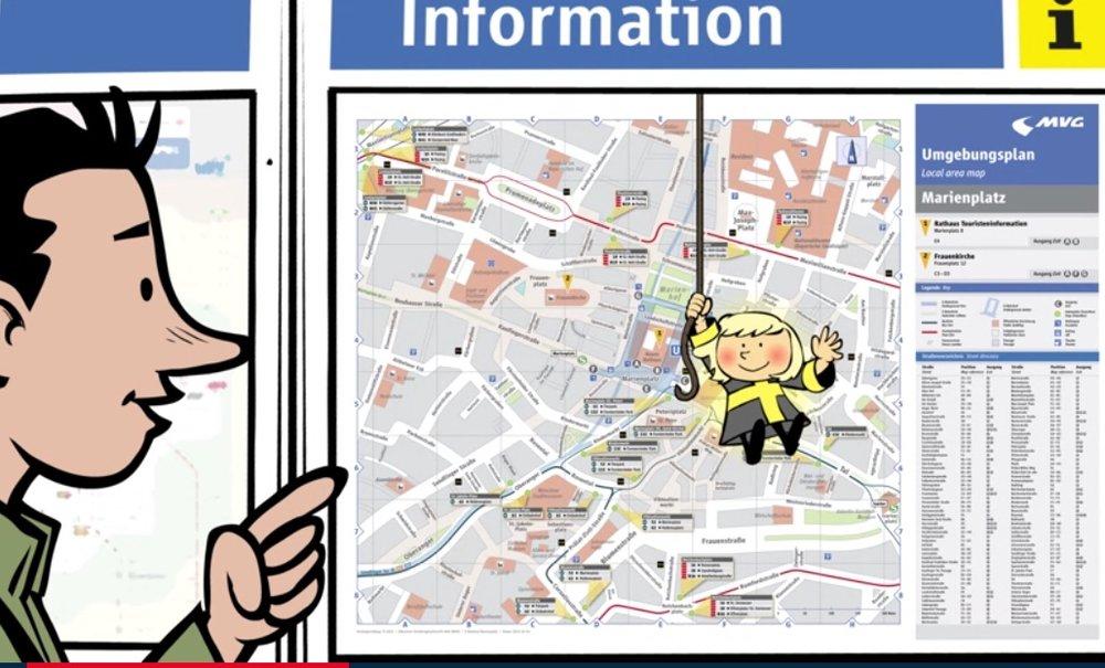 Comicstil mit Münchner Kindl. Quelle: www.erklaervideo.com