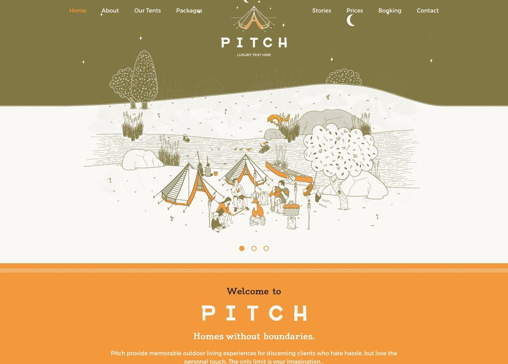 Die gesamte Website des Zeltherstellers kommt fast ohne Fotos aus. Redzierte Farben schaffen ein harmonisches Bild.  Quelle:  http://pitch-tents.co.uk/
