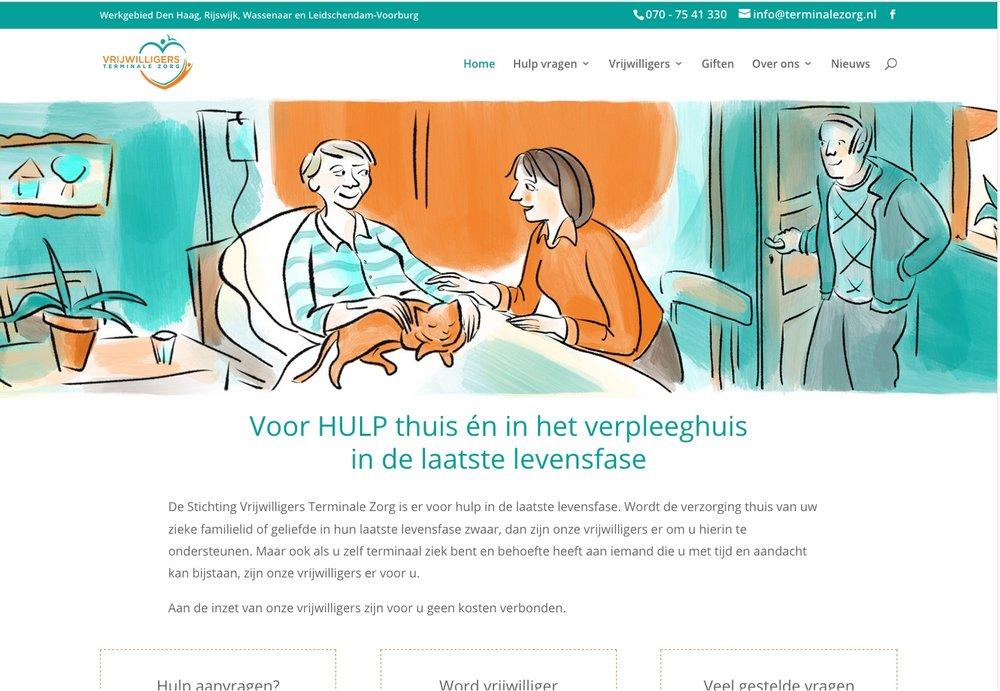 der stil zieht sich durch die gesamte website der holländischen Website zum Thema häusliche pflege. Bei einem fotoshooting wäre es deutlich schwieriger, in der farbgebung des logos zu bleiben.  Quelle:  terminalezorg