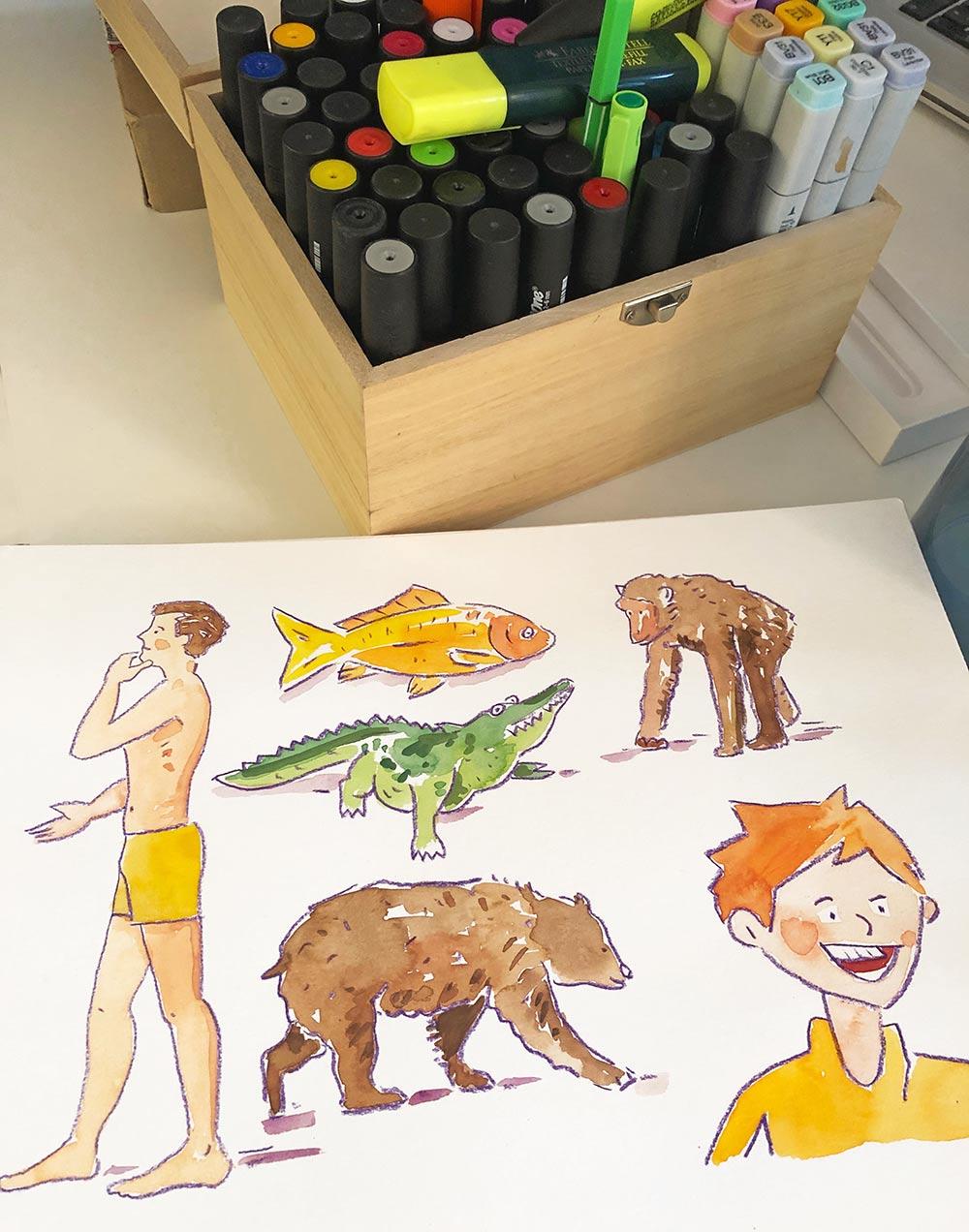 """der """"werkzeugkoffer"""" meines bürokollegen Gernot Kropf. Der Illustrator und Grafik Designer zeichnet sowohl auf papier als auch auf dem tablet. Foto: Angelika güc, Illustrationen: gernot kropf"""