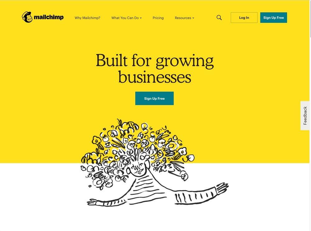 Sehr ansprechende Illustrationen bebildern den webauftritt des Newsletter-tools Mailchimp.  Quelle:  mailchimp
