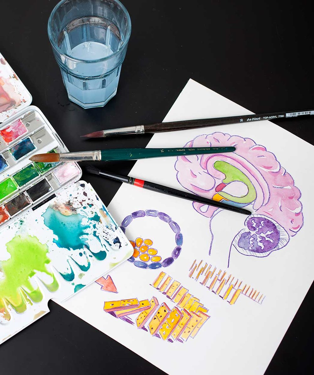 Gernot Kropf coloriert seine Illustrationen mit Aquarellfarben Quelle: Gernot Kropf