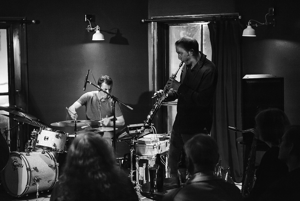 Michelson Morley in Newcastle on tour 2014 tour, with Jake McMurchie on saxes/electronics.  (photo: Ken Drew)