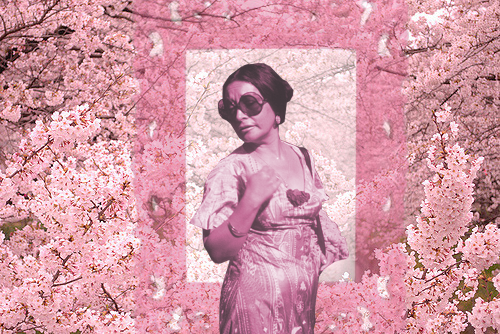 I created this homage of my grandmother, as most of my work. The background is a photo of DC's Cherry Blossoms, an emblem of the city.