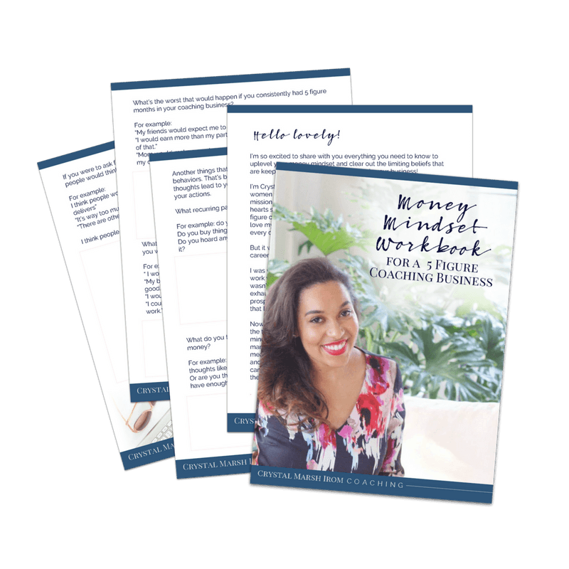 Looking to elevate your coaching business? Start your path to 5-figure coaching success by signing up to receive my free Money Mindset Workbook.