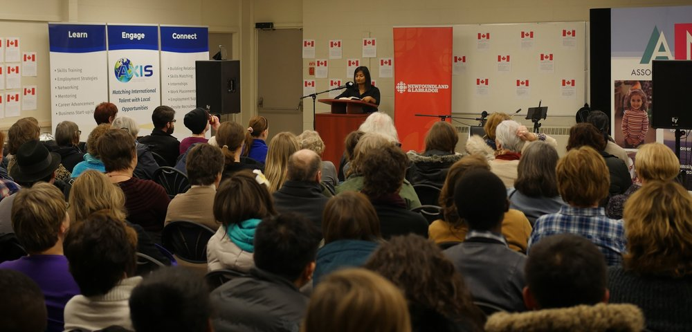 Reading at the Association for New Canadians Training Centre. Photo by Andrew Sampson, CBC.