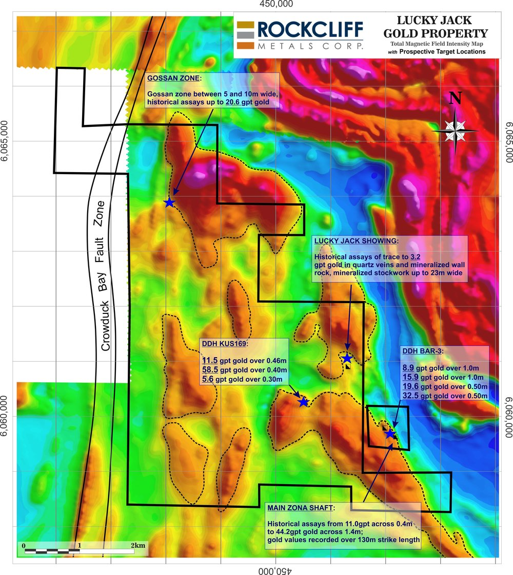 Figure 1: Total Magnetic Field Intensity Map over the Lucky Jack Property To view the graphic in its original size, please click  here