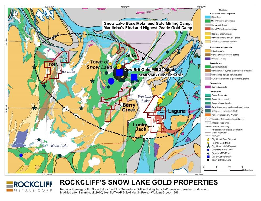 Figure 1 - Rockcliff's 5 district sized gold properties in the Snow Lake area,    including the Laguna Gold Property. Click image to view larger or link    here.