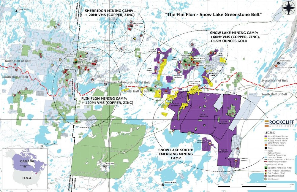 Figure 1: Rockcliff's Property Portfolio coloured in yellow (RNC's acquisitions) and purple located in the Flin Flon-Snow Lake greenstone belt.