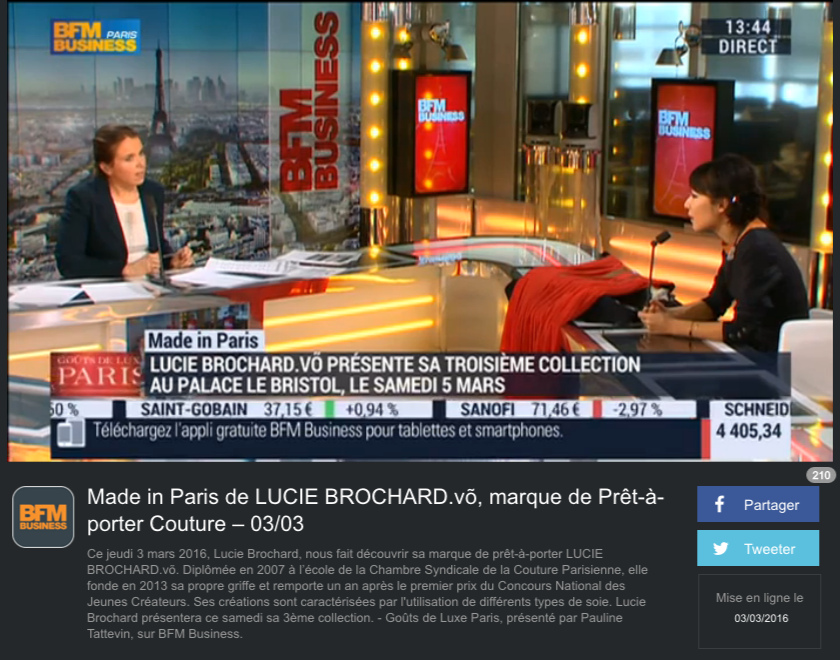Interview de Lucie Brochard sur BFM Business Émission - Goûts de Luxe Paris : Made in Paris de Lucie BROCHARD.võ.