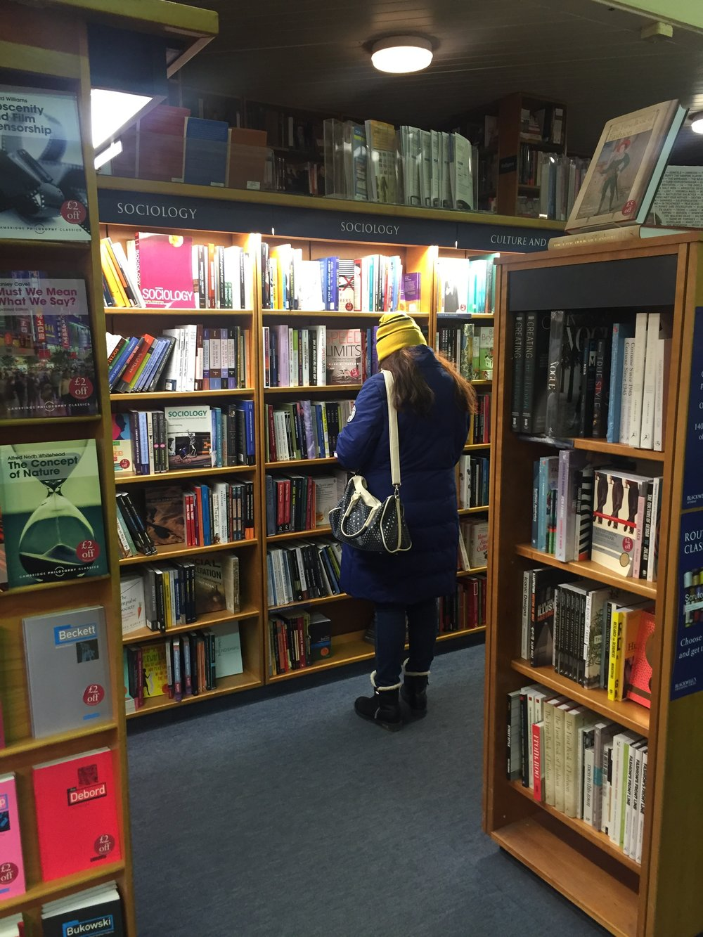 Xena in Blackwells Bookshop, Oxford on our London Exchange 2016