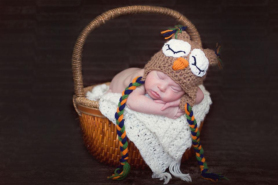 Newborn Sleeping in Basket Owl Hat