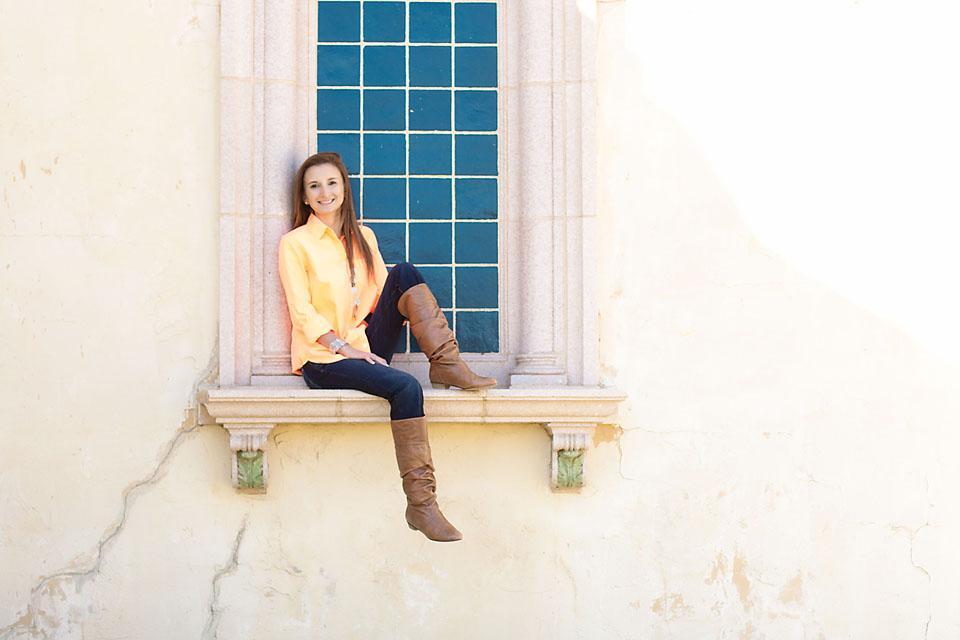 Senior Girl Portraits Sitting Window