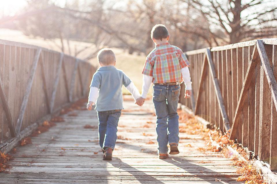 Family Photos Boys Brothers Walking on Bridge