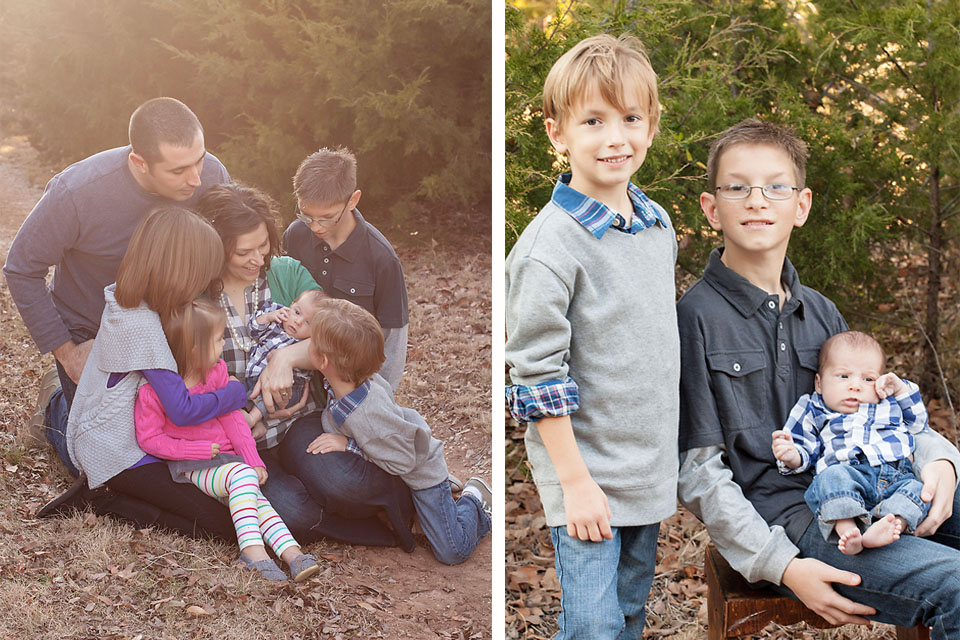 Large Family Outdoor Session Brothers Newborn