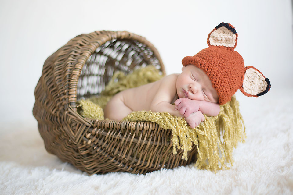 Newborn Baby Boy Sleeping in Moses Basket with Fox Hat