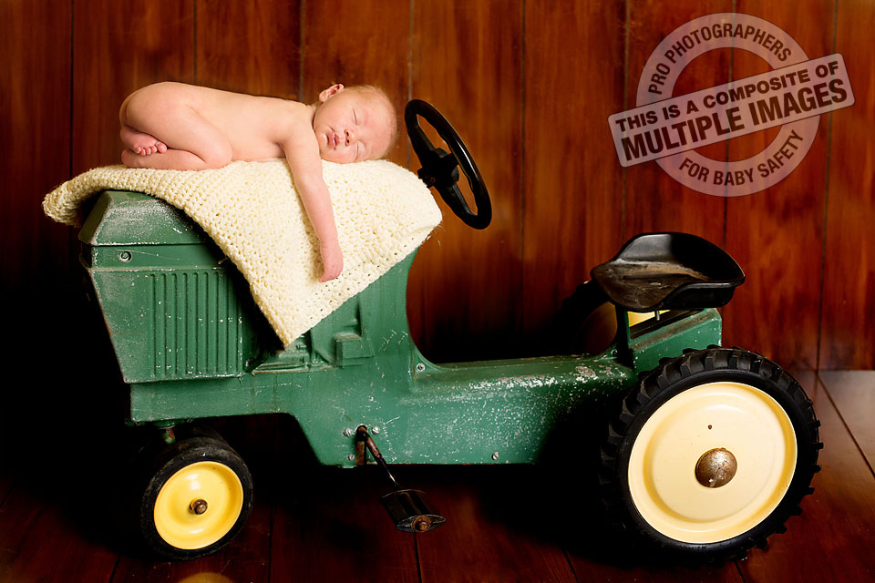 Newborn Baby Boy on Antique Tractor-- THIS IS A COMPOSITE OF MULTIPLE IMAGES FOR BABY SAFETY!