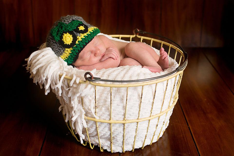 Newborn Baby Boy in Yellow Basket and John Deere Hat