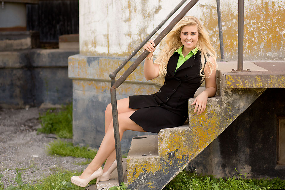 Oklahoma Senior girl sitting on stairs
