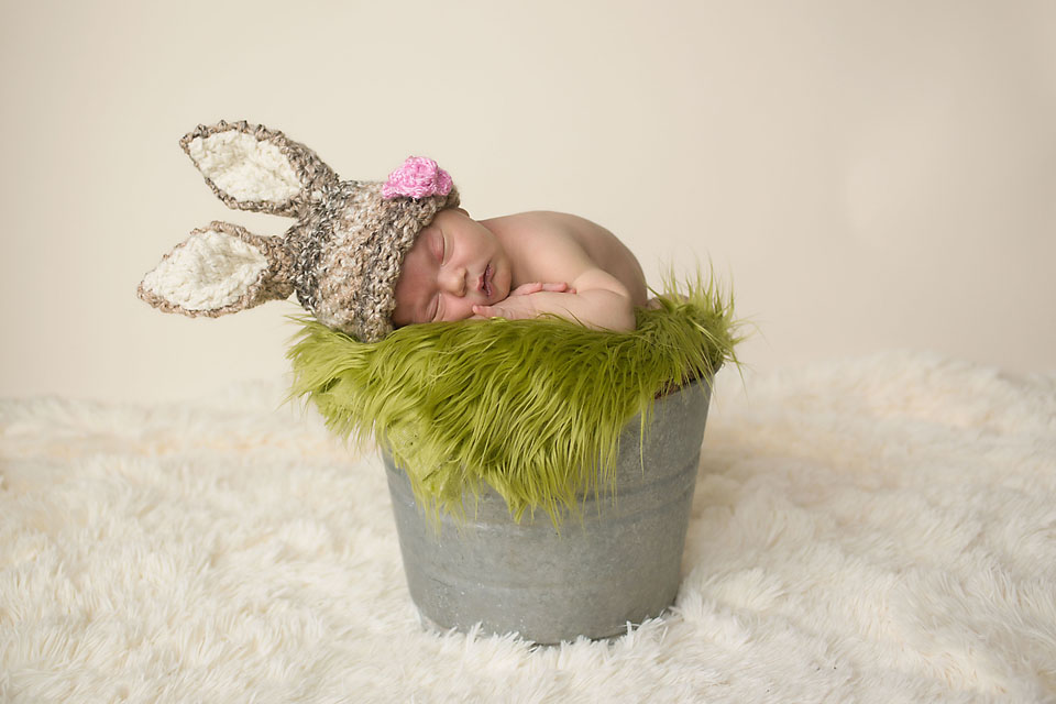 Cute oklahoma newborn baby girl in bunny hat