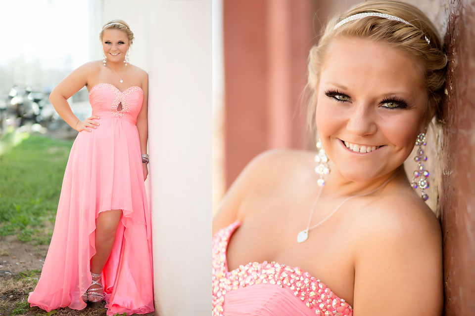 beautiful oklahoma senior girl in prom dress