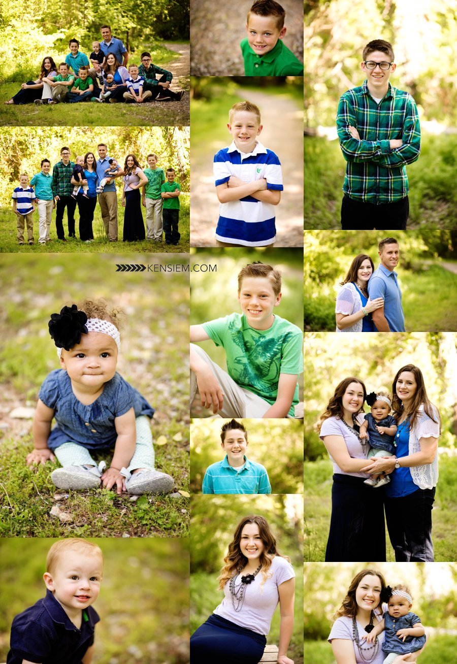 Family portraits of a large family outdoors.