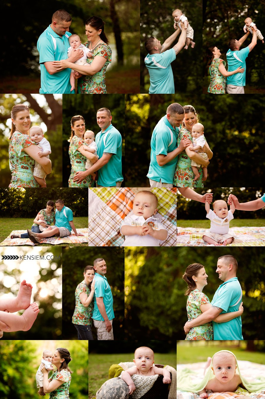 Sweet family photos of family of three. Mom, Dad, and baby boy.