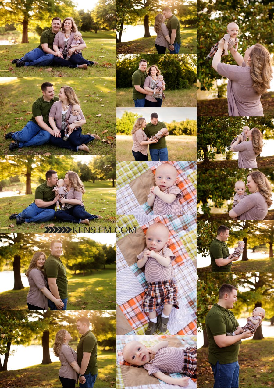 Winchester VA Family Photographer. Family of Three Poses. Outdoor family portraits of family of 3 with baby. www.kensiem.com | Winchester VA Family Photographer