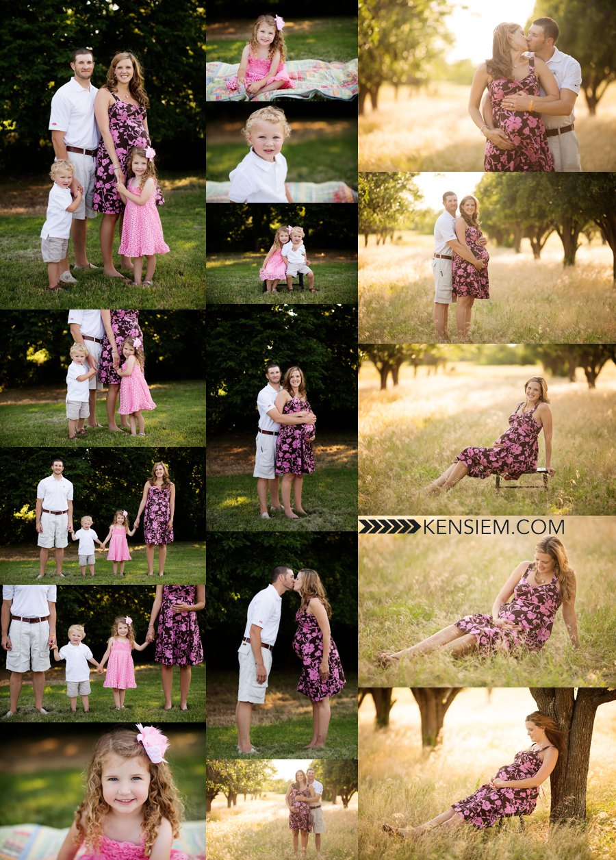 Winchester VA Maternity Photography. Maternity and Family Poses. Outdoor family and maternity portraits of family of 4. www.kensiem.com | Winchester VA Maternity Photography